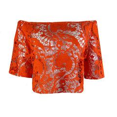Blusa Cropped Guipir Laranja B.Boucle