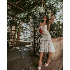 Vestido Midi Alça Renda Branco Esmeral