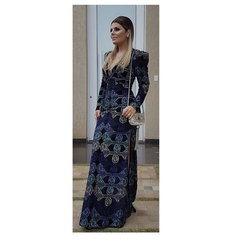 Vestido Longo Veludo Bordado com Fenda Preto Anne Fernandes