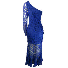 Vestido Longo Um Ombro Azul Agilità