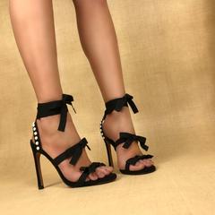 Sandália Salto Alto com Laços Preto Uza
