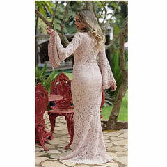 Vestido Longo Sereia Bordado Rosê Anne Fernandes