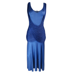 Vestido Jersey Giulia com Franja Azul Iódice