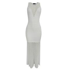 Vestido Longo Piquet Branco Iódice