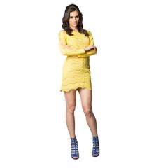 Vestido Renda com Manga Vazada Amarelo Litt'