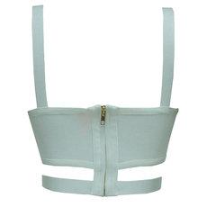 Blusa Cropped com Detalhe Cruzado Bandagem Off White Esmeral