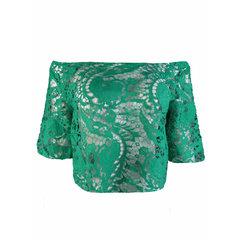 Blusa Cropped Guipir Verde B.Boucle