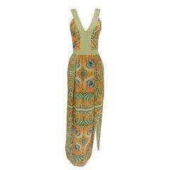 Vestido Longo Seda Estampado Faven
