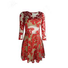 Vestido com Tule Invisível Rodado Vermelho Amicci