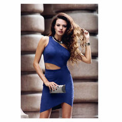 Vestido Um ombro Suede Azul Marinho N.N Moda