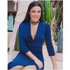 Vestido Decote em V Azul Iorane