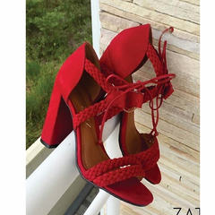 Sandália Feminina Trançada Vermelho Zatz