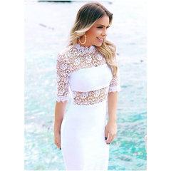 Vestido Midi Renda e Bandagem Branco Anne Fernandes