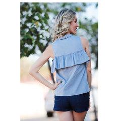 Camisa Detalhe Babado Azul Esmeral