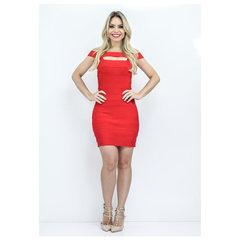 Vestido Bandagem com Tiras Vermelho Faven