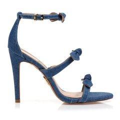 Sandália Feminina 3 Tiras Jeans
