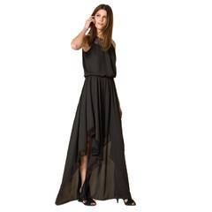Vestido Longo Seda Double Preto Iódice