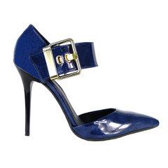 Scarpin Fivela Lateral Azul Macro Fashion