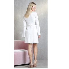 Vestido Detalhe Renda Manga Longa Off White Iorane