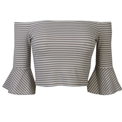 Blusa Cropped Listrado Esmeral