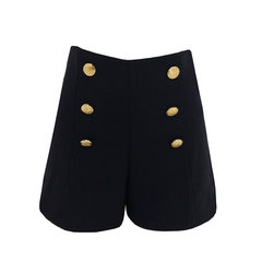 Short Cintura Alta Crepe Botões Preto Esmeral