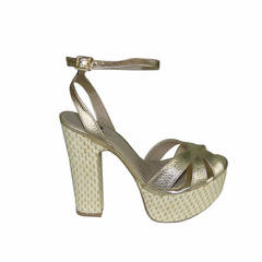 Sandália Feminina Detalhe Palha Dourada Macro Fashion