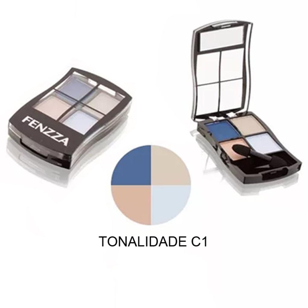 Paleta De Sombras 4 Cores E 01 Pincel Aplicador Ponta Dupla Fenzza Unitário - PSM2711