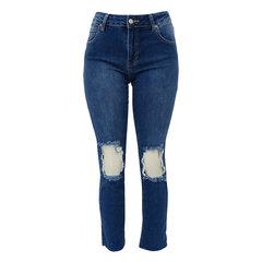 Calça Reta Jeans Curta Rasgada no Joelho Esmeral