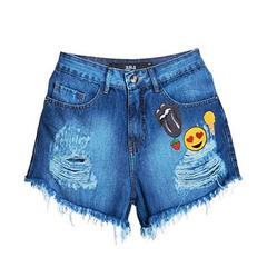 Short Cintura Alta com Patches Jeans 284