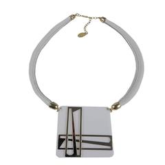 Colar Couro Quadrado Branco/Dourado Turpin