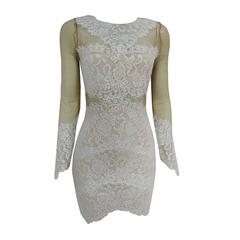 Vestido Renda e Transparência Off White Juju Costa
