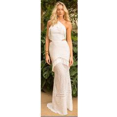 Vestido Longo com Detalhes Branco Anne Fernandes