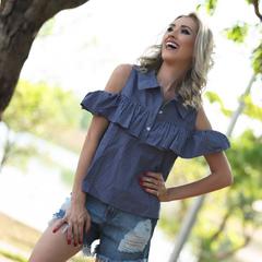 Blusa Botões Listrada Hush By Rosana