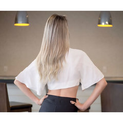 Blusa Cropped Rayon Off White C.Club