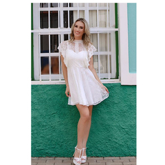 Vestido Renda Gola Fechada Hush By Rosana