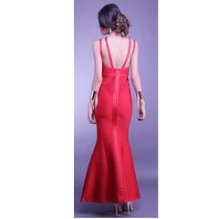 Vestido Longo Bandagem Sereia Vermelho Skazi