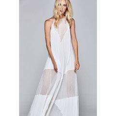 Vestido Longo Plissado Off White C.Club