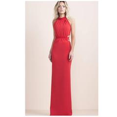 Vestido Longo Crepe Abertura Vermelho Iorane