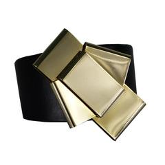 Pulseira Cruzada Laço Dourado Couro Preto Turpin