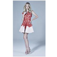 Vestido Renda e Sarja Vermelho C.Club