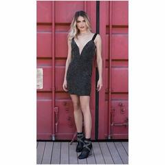 Vestido Lina Alças com Detalhes em Pedras Preto Le Blog