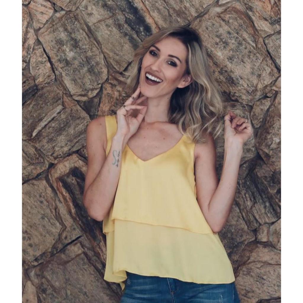 Blusa Detalhe Babado Amarelo Litt'