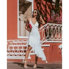 Vestido Assimétrico com Babado Branco Esmeral