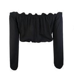 Blusa Cropped Ciganinha Preto Amicci