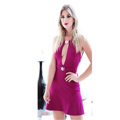 Vestido Thaiza com Decote e Cinto Roxo Le Blog