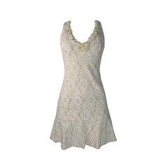 Vestido Renda Glitter Off White Lore