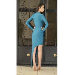 Vestido Assimétrico Manga Longa Azul Laví