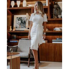 Vestido Midi Canelado com Amarração Off White Esmeral