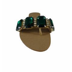 Rasteira Feminina com Pedras Verdes Santa Flor