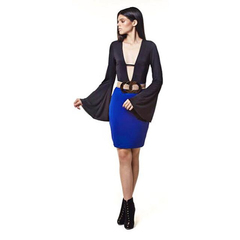 Vestido Decote Bicolor Preto e Azul Nathi Faria